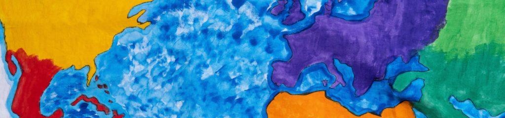 Weltkarte auf Tuch gemalt