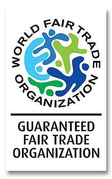 Garantie-Emblem der World Fair Trade Organization (internationale Organisation des Fairen Handels)