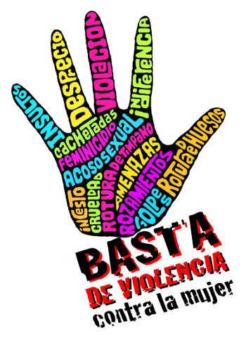 """Hand mit Beschriftungen und Slogan """"Basta de violencia contra la mujer"""", Bildungsprojekt """"Empowerment von Frauen weltweit"""""""