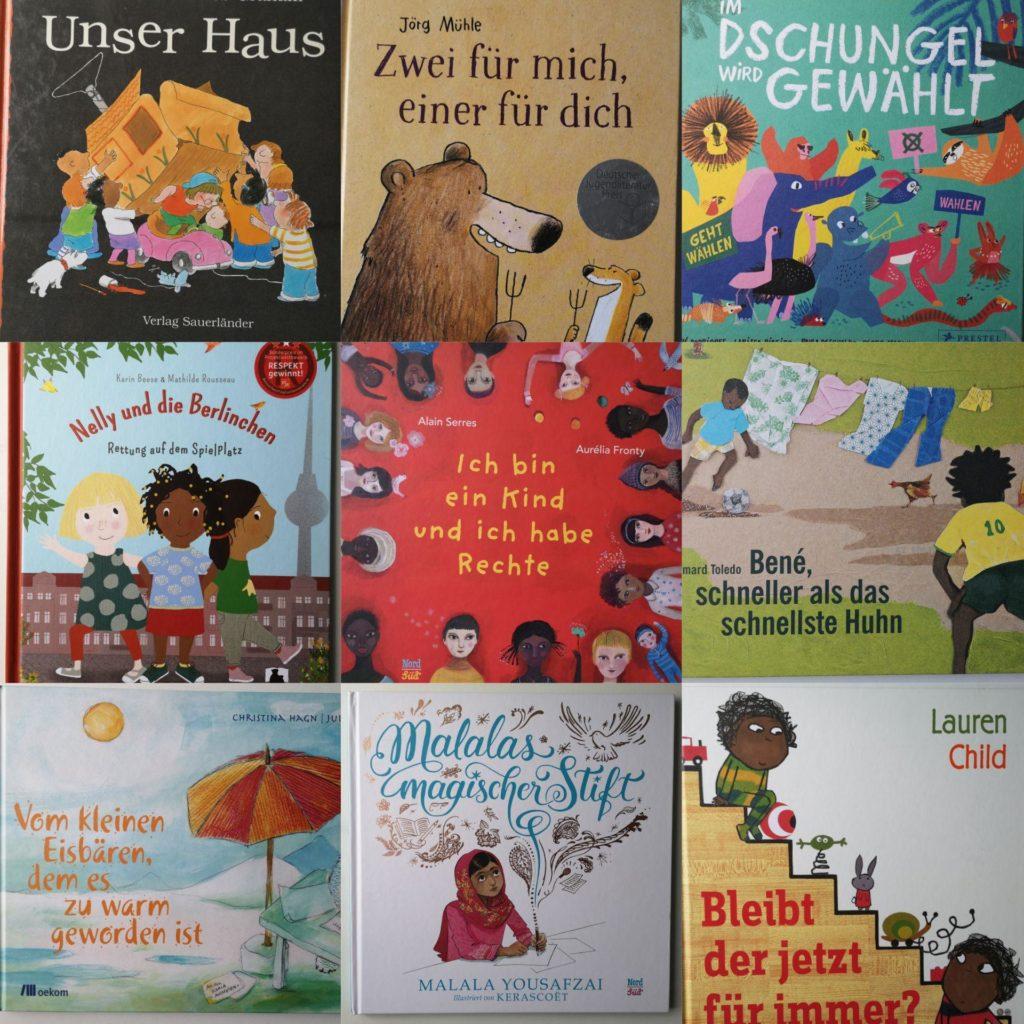"""Mosaik aus neun Büchern zum Thema """"Was ist fair? Was ist gerecht?"""""""