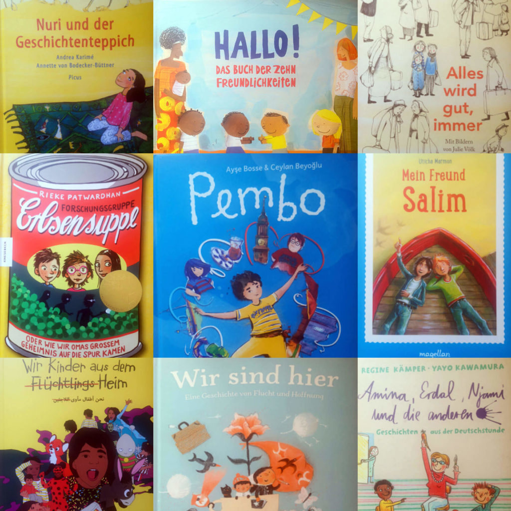 """Mosaik aus neun Büchern zum Thema """"Flucht und Ankommen"""""""