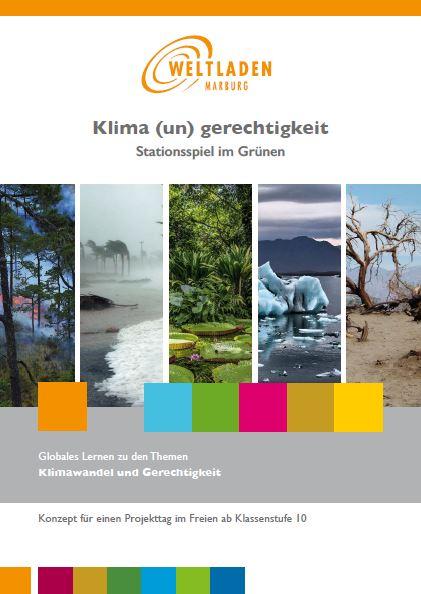 Bild zeigt die Titelseite des Konzeptheftes. 5 Bilder sind zu sehen. In der MItte ein Bild mit grünen Pflanzen. An den Seiten  unterschiedliche Wetterextreme: Waldbrand, Sturm, Eisschmelze, Wüste.